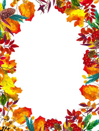 Autumn leaves border frame with space for text isolated on white background. Seasonal floral watercolor maple oak tree orange leaves.