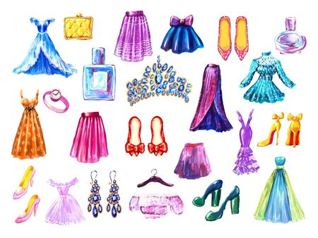Fashion set. Watercolor hand drawn collection of dresses shoes skirts, perfumes and bags. hand painted illustration. Style concept. Shopping clothes and accessories Фото со стока - 130033721