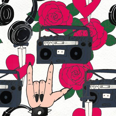 Seamless hard rock background. Abstract music modern pattern. Hand drawn illustration with headphones roses tattoo ans boombox