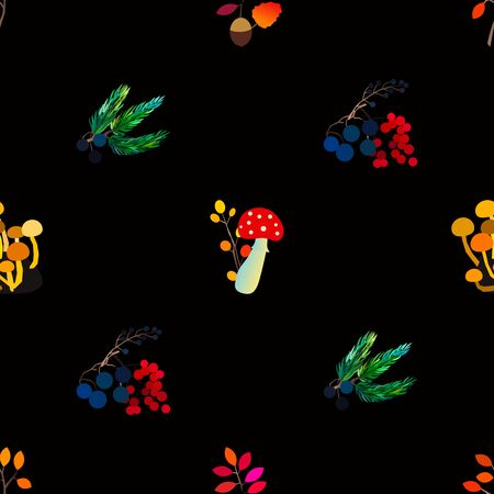 Autumn vector seamless pattern with berries, acorns, pine cone, mushrooms, branches and leaves. Fall colorful background. Standard-Bild - 130033729