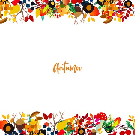 Autumn frame with berries, acorns, pine cone, mushrooms, branches and leaves. Fall colorful vector border on white background. Standard-Bild - 130033733