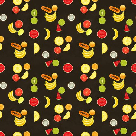 Hand drawn seamless pattern with bananas, coconuts, pineapples papaya and melon. Summer background with exotic food. Top view. Wallpaper or textile tropic print