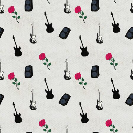 Seamless Rock background. Abstract music modern pattern. Hand drawn illustration with guitars