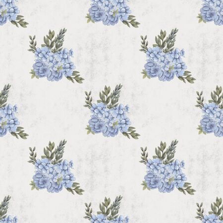 Vintage Floral seamless pattern. Hand-drawn flowers for fabric. wedding bouquet print
