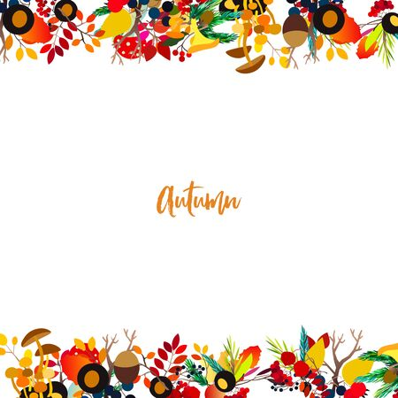Autumn frame with berries, acorns, pine cone, mushrooms, branches and leaves. Fall colorful vector border on white background.