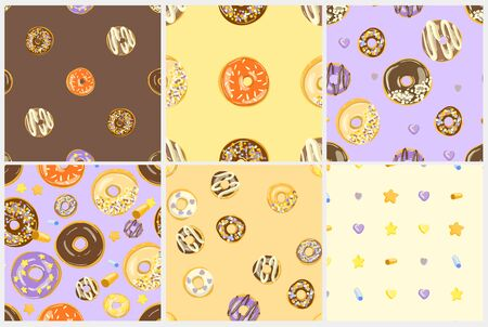 Glazed Donuts seamless pattern set. Bakery Vector. Top View doughnuts into glaze. Food background collection. Cartoon style illustrations.