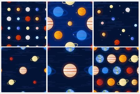 Space print. Seamless vector pattern set. Different colored planets of the Solar system and stars on a dark night sky background. Universe, outer space flat design illustration