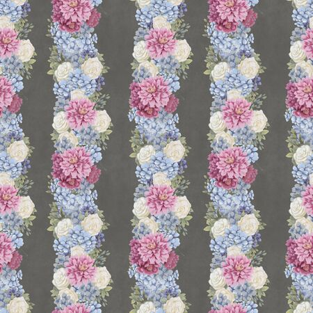 Vintage Floral seamless pattern. Hand-drawn flowers for fabric. Watercolor botanical print Stock Photo