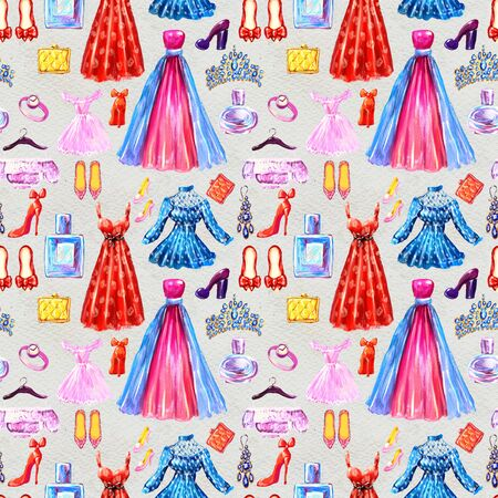 Fashion seamless pattern. Watercolor hand-drawn background with dresses shoes skirts, perfumes and bags. hand painted illustration. Style and shopping clothes