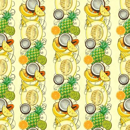 Hand drawn seamless pattern with bananas, kiwi fruit, grapefruit, pineapples and melon. Summer background with exotic fruits. Top view. Wallpaper or textile tropic print