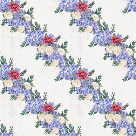 Vintage Floral seamless pattern. Hand-drawn pink, blue and white flowers and leaves for fabric. Floral ornament