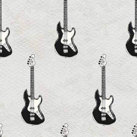 Seamless Rock background with electric guitars. Abstract music modern pattern. Hand drawn illustration. 스톡 콘텐츠