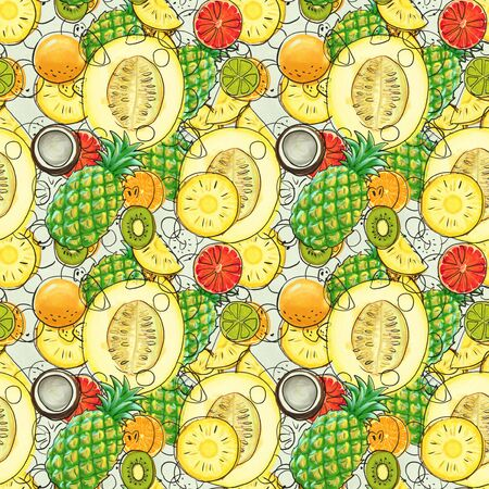 Hand drawn seamless pattern with bananas, coconuts, pineapples papaya and melon. Summer background with exotic fruits. Top view. Wallpaper or textile tropic print 스톡 콘텐츠