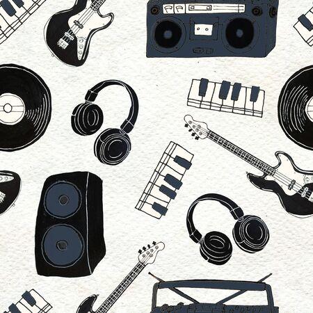 Seamless Rock background. Abstract music modern pattern. Hand drawn illustration Vinyl records, guitar, skull, keys, headphones.