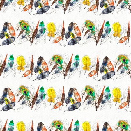 Watercolor seamless pattern. Hand painted texture with various multicolor bird feathers. 스톡 콘텐츠