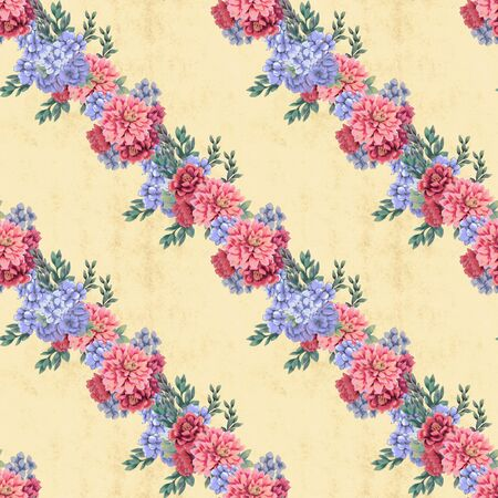 Vintage seamless pattern. Hand-drawn pink, blue and white flowers and leaves for fabric. Floral decoration