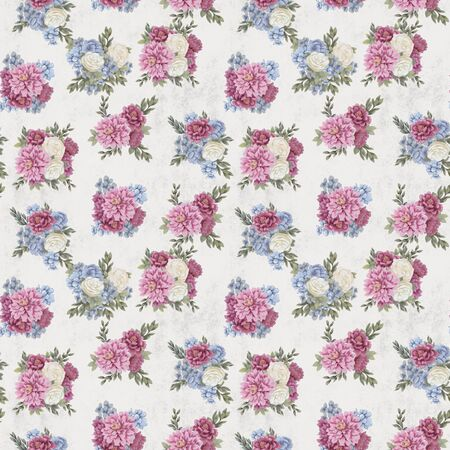 Vintage Floral seamless pattern. Hand-drawn pink, blue and white flowers and leaves for fabric. Delicate colors Stock fotó
