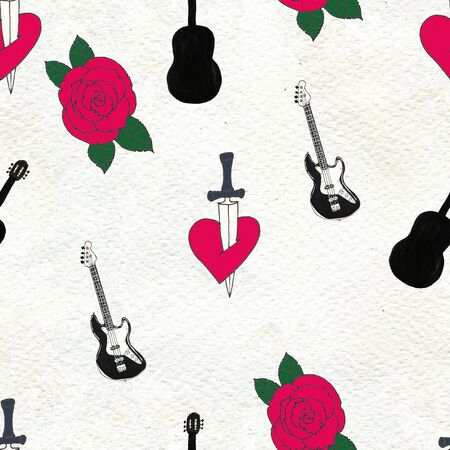 Seamless Rock background. Abstract music modern pattern. Hand drawn illustration with guitars knife in hearn tattoo and roses