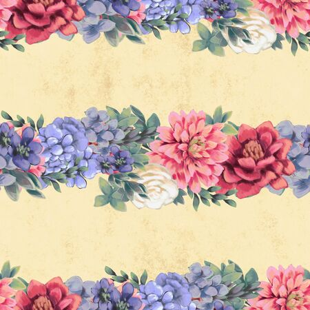 Vintage Floral seamless pattern. Pink, blue and white flowers and leaves for fabric. Wedding decoration in delicate colors Stock Photo