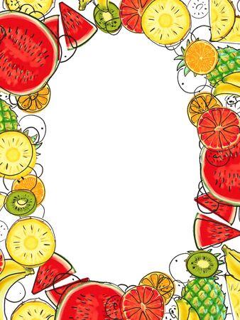 Hand drawn Exotic Fruit frame isolated on white background. Summer illustration Stok Fotoğraf