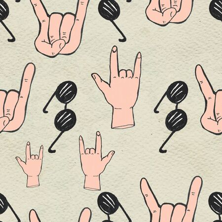Seamless Rock n roll background. Abstract music modern pattern. Hand drawn illustration