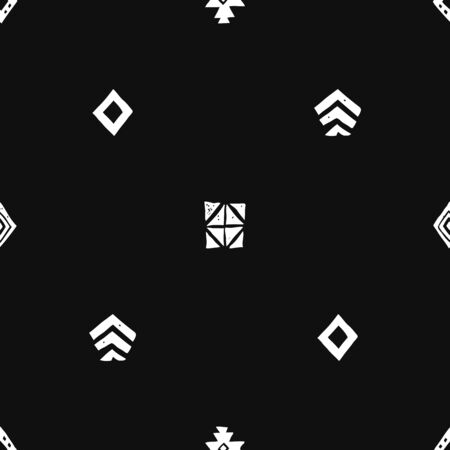 Tribal ethnic background. Stylish primitive geometric seamless pattern. Abstract wallpaper with grunge texture vector illustration. Monochrome ornament fabric textile. White on black