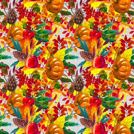 Autumn watercolor seamless pattern with leaves mushrooms and pine cones. Seasonal hand painted design with rowan, branches, yellow leaves, pumpkins, berries and acorns 版權商用圖片