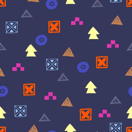 Tribal ethnic background. Stylish primitive geometric seamless pattern. Abstract wallpaper with grunge texture vector illustration.