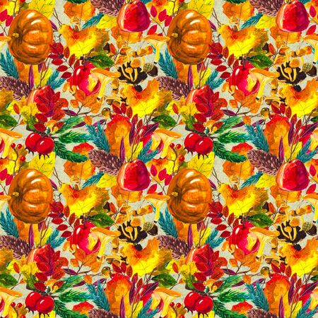 Autumn watercolor seamless pattern with leaves mushrooms and pine cones. Seasonal hand painted design with rowan, branches, yellow leaves, pumpkins, berries and acorns Stok Fotoğraf - 132330163