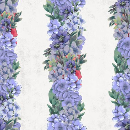Vintage Floral seamless pattern. Pink, blue and white flowers and leaves for fabric Stock Photo