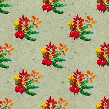 Autumn watercolor seamless pattern with leaves mushrooms and pine cones. Seasonal hand painted design with rowan, branches, berries and acorns Stok Fotoğraf - 132330168