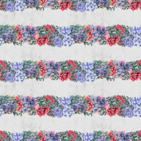 Vintage delicate Floral seamless pattern. Pink, blue and white flowers and leaves for fabric Stock Photo