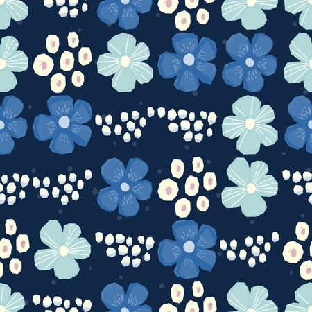 Seamless pattern Vector floral design with chamomile and wildflowers. Romantic background print for fabrics and wallpapers. Stock Photo