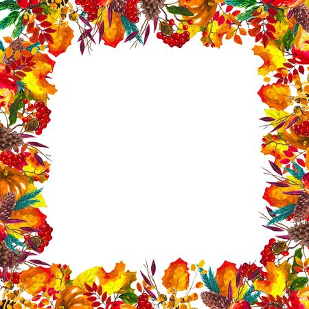 Autumn leaves border frame with space for text isolated on white background. Seasonal floral watercolor design with hand drawn leaves Stok Fotoğraf - 132293227