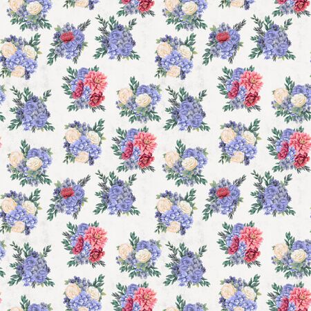 Vintage Floral seamless pattern. Hand-drawn pink, blue and white flowers and leaves for fabric. Delicate colors Stock Photo