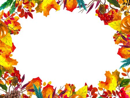 Autumn leaves border frame with space for text isolated on white background. Seasonal floral watercolor maple oak tree orange leaves. Stok Fotoğraf - 132330328