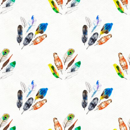 Watercolor seamless pattern. Hand painted texture with various colorful feathers. Paper background Stock Photo