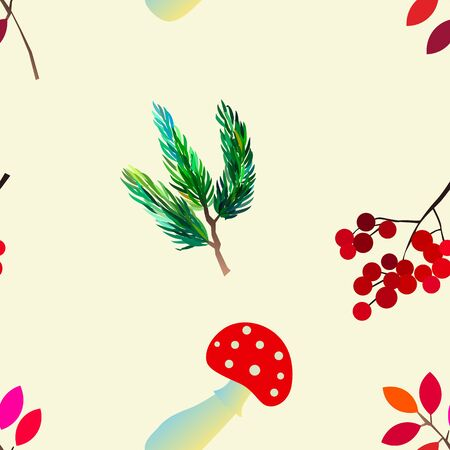 Autumn vector seamless pattern with berries, acorns, pine cone, mushrooms, branches and leaves. Fall colorful background. Fashion, fabric and prints, wrapping paper. Stok Fotoğraf - 132330343