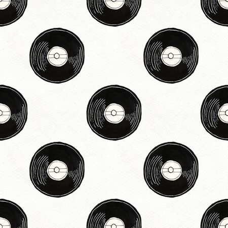 Seamless Rock background. Abstract music modern pattern. Hand drawn illustration with vinyl records