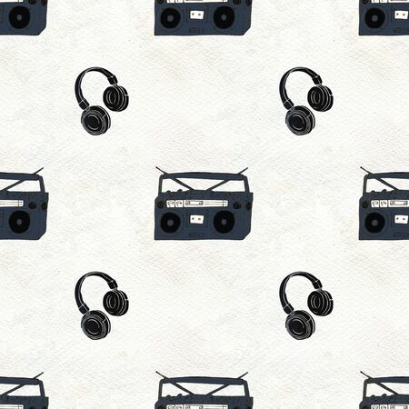 Seamless Rock background. Abstract music modern pattern. Hand drawn illustration with headphones and boombox