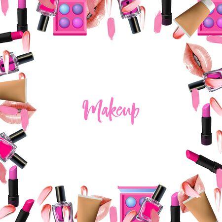 Make up border. Vector Beauty frame with cosmetic products. Lips, lipstick, eye shadows, eyeliner, concealer and nail polish. Illusztráció