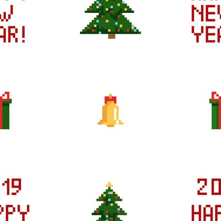 Christmas pixel seamless pattern. Arcade games New year and Xmas decoration elements. Trees snowman candles santa, gifts and wteath.