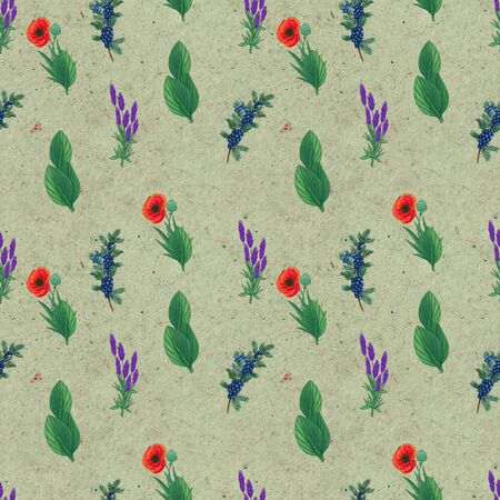 Hand drawn medicinal plant seamless pattern. Healing herbs drawing on craft paper. Illustration of juniper, poppy, plantain lavender