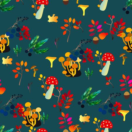 Autumn vector seamless pattern with berries, acorns, pine cone, mushrooms, branches and leaves. Fall colorful background. Fashion, fabric and prints, wrapping paper.