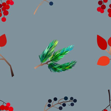 Autumn vector seamless pattern with berries, acorns, pine cone, mushrooms, branches and leaves. Fashion, fabric and prints, wrapping paper.