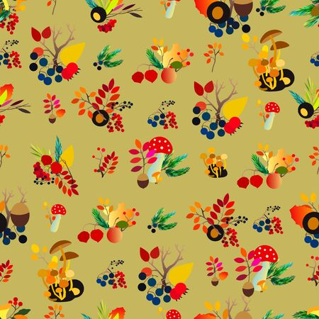 Autumn vector seamless pattern with berries, acorns, pine cone, mushrooms, branches and leaves. Stock Illustratie