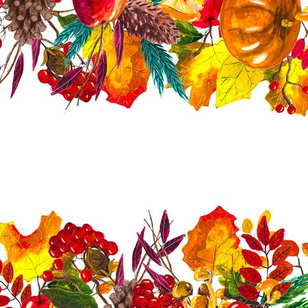 Autumn leaves border with space for text isolated on white background. Seasonal floral watercolor maple oak tree orange leaves with gourds for thanksgiving holiday, harvest decoration design.
