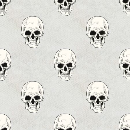 Seamless Rock background. Abstract modern pattern. Hand drawn illustration with skulls Stock Photo