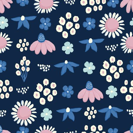 Seamless pattern Vector floral design with chamomile and wildflowers. Romantic background print for fabrics and wallpapers. 向量圖像