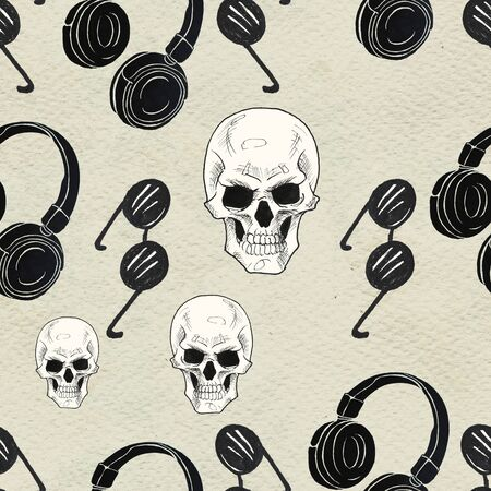 Seamless Rock background. Abstract music modern pattern. Hand drawn illustration with headphones, skulls and sunglasses